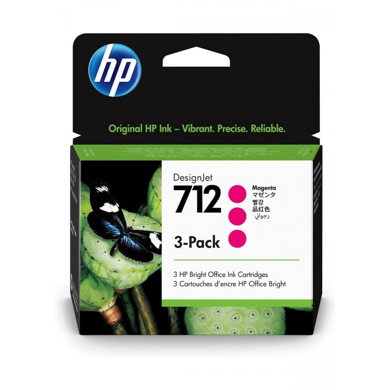 TINTA HP 712 29 ML 3PACK (3 CARTUCHOS) MAGENTA ORIGINAL (3ED78A) | NYSI Soluciones