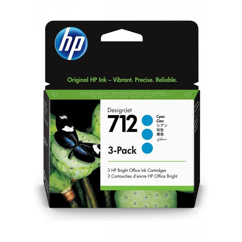 TINTA HP 712 29 ML 3PACK (3 CARTUCHOS) CYAN ORIGINAL (3ED77A) | NYSI Soluciones