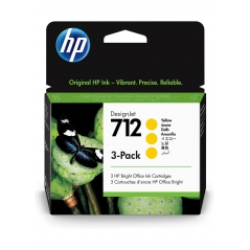 TINTA HP 712 29 ML 3PACK (3 CARTUCHOS) AMARILLA ORIGINAL (3ED79A) | NYSI Soluciones