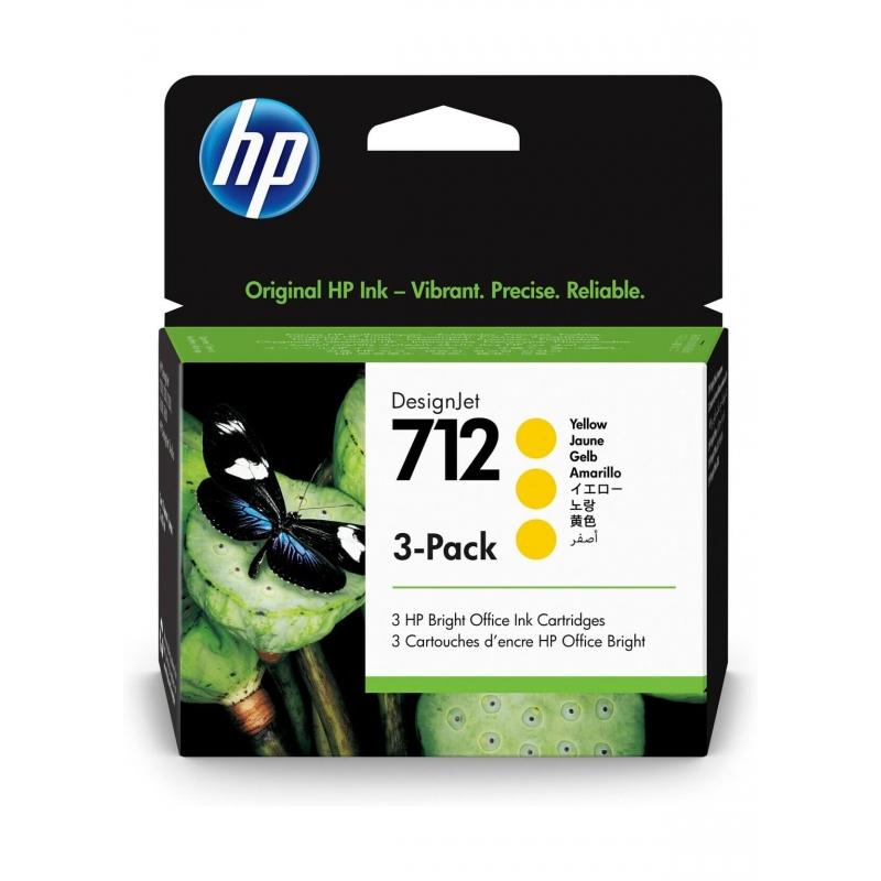 TINTA HP 712 29 ML 3PACK (3 CARTUCHOS) AMARILLA ORIGINAL (3ED79A)   NYSI Soluciones