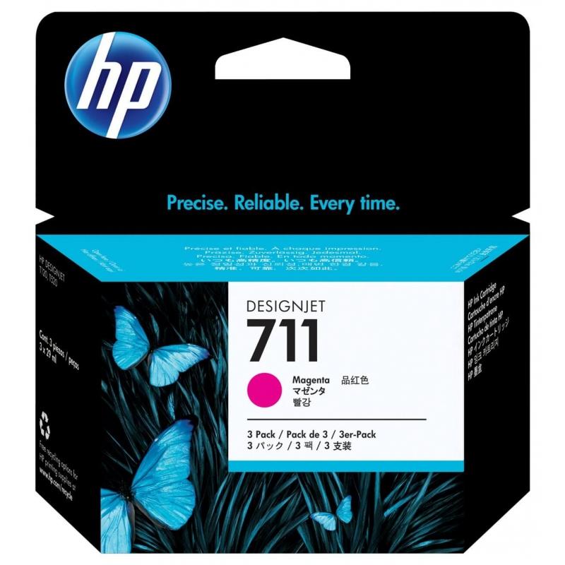 TINTA HP 711 29 ML 3PACK (3 CARTUCHOS) MAGENTA ORIGINAL (CZ135A) | NYSI Soluciones